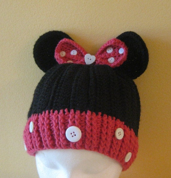 Minnie Mouse Crochet Hat Pattern Child : Crocheted Minnie Mouse Hat Toddler/ Kids Size