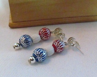 CLEARANCE  Red, White and Blue Stud Earrings