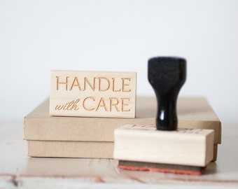 Handle With Care - Rubber Stamp with Handle