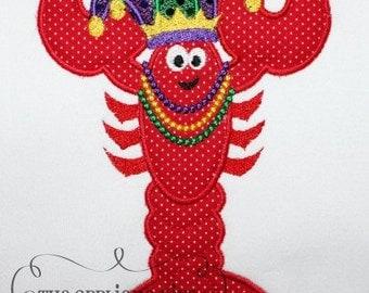 Mardi Gras Crawfish Embroidery Design Machine Applique