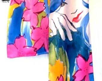Hand Painted Silk Scarf JPOP Anime Girl Sakura Night. Multicolor Floral Scarf. Spring Fashion. Silk Charmeuse Scarf. 8x54 in.