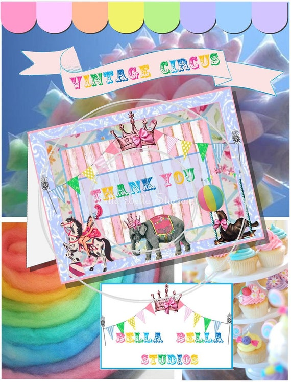 Vintage CIRCUS Birthday Party Girl and Horse Custom Printable THANK YOU Cards by Bella Bella Studios