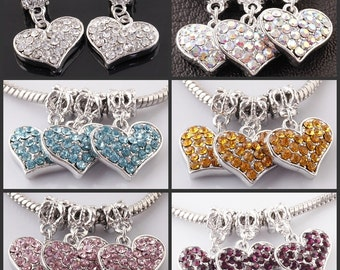 Silver Plated Heart with Rhinestones Dangle Charm  Bead Spacer Fits  European Style Charm Bracelets
