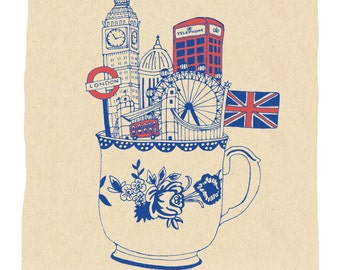 London Teacup Art Print - 5x7