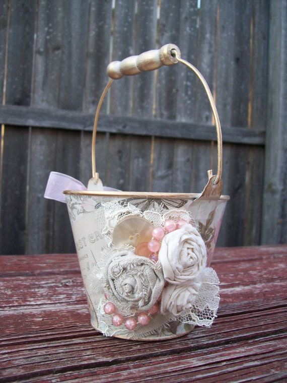 Pink and Ivory Flower Girl Baskets Shabby Chic Wedding