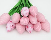 Dozen of spring flowers, tulips fabric flower pale pink tulip bouquet - gift for Valentine day,birthday,get well. Gift for girl and wife
