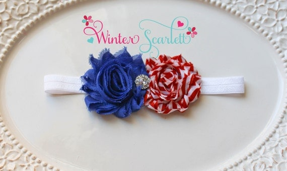 4th of July,  Baby Headband, baby girl headband,Newborn Headband, shabby chic flower headband, christening headband,baptism headband.