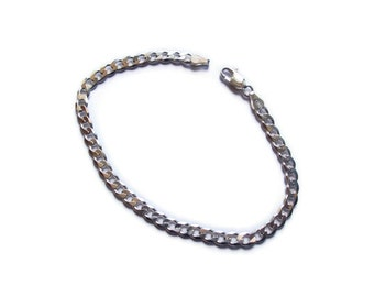 Sterling Silver Flat Cable Chain Bracelet