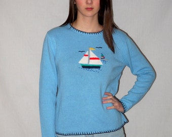 90s Nautical Sweater / Cropped Preppy Sailboat Sailor Blue Spring / 1990s Slouchy Boxy Classic / S M