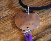 Metal Stamped Necklace, Purple Ribbon, Supports Pancreatic Cancer, Lupus. Fibromyalgia, Suicide Prevention