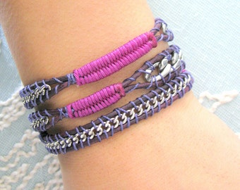 Leather and Chain Wrap Bracelet in Deep Plum Thread and a Button Clasp