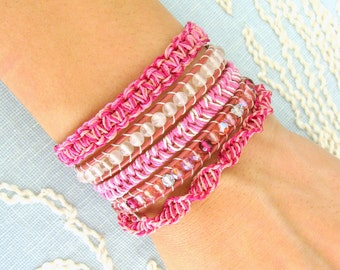 Beaded Wrap Bracelet with Rose Quartz and a Silver Button Clasp - Shades of Pink