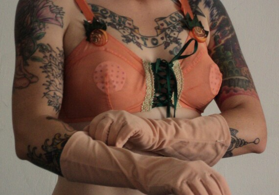 sheer mesh 40s peek a boo bra peach with vinatge hand embellished lace up front and bakelite buttons