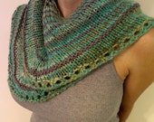 Turquoise Dragon Semi-Circle Shawl (blue, cream, gray, tan, orange, peach, sage) (Ready to Ship)