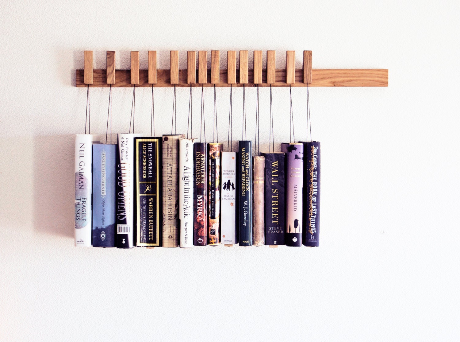 Custom Made Wooden Book Rack / Bookshelf In Oak. The Pins Are