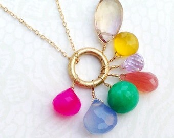 Gemstone Necklace - Cluster - Gold Jewelry - Fine Jewellery - Multi color