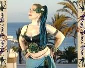 "DREAD FALLS ""Paradise"" peacock colours 80 dreads dreadlock mermaid FANTASY yarn hair falls 24''/ 60 cm long Tribal belly dance accessory"