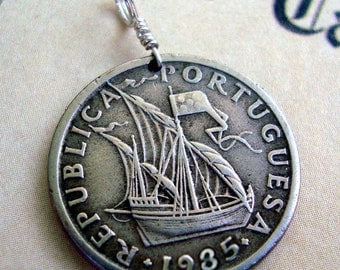 Coin Jewelry - Vintage 1985 Portugal COIN Necklace -  Ship full sail - pirate ship - REPUBLICA PORTUGUESA - mens gift - boyfriend gift - dad