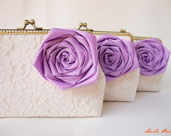 Lavender Weddings / Personalize your Bridesmaid Gifts with Set of 3 Lace Clutches and Purple Silk Roses
