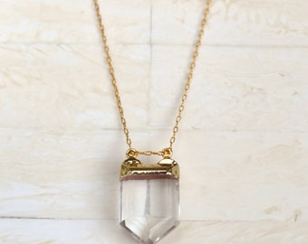 Layering Necklace Simple Gold Necklace Crystal Necklace Quartz Necklace