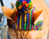 Pom Pom Cat Hat  - Rainbow - Hand Knit Cat Costume (READY TO SHIP)