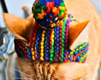 Pom Pom Cat Hat  - Rainbow - Hand Knit Cat Costume