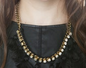 Pom Pom w Wrapped Crystal Chain Necklace- Jewelry
