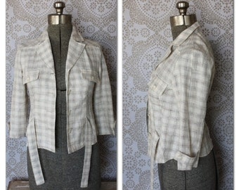 Women's Vintage 1950's Plaid Light Weight Cropped Jacket Small