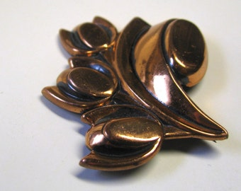 Vintage Renoir Copper Tulip Brooch, Copper Flower Brooch Pin
