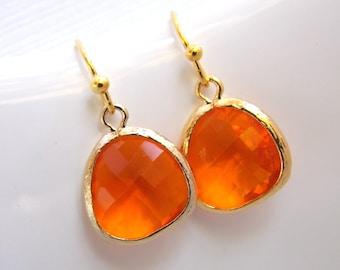 Orange Earrings, Glass Earrings, Tangerine, Gold Earrings, Carnelian, Bridesmaid Earrings, Bridal Earrings Jewelry, Bridesmaid Gift