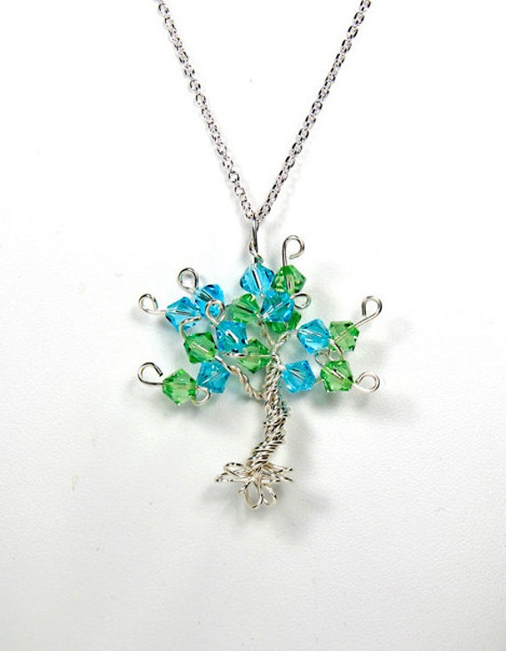 Sterling Silver Tree of Life Pendant Custom in Any Color Wire Wrapped Tree