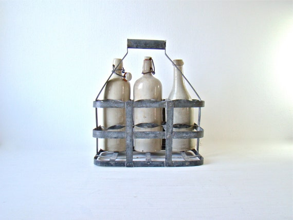 French metal bottle carrier 6 bottle holder shabby chic home - Wire wine bottle carrier ...
