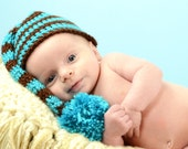 Blue and Brown Stripe Long Tail Hat Newborn Photo Prop