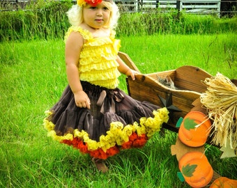 Pettiskirt and Headband Set Autumn Fall Brown Orange Golden Yellow Costume Dress Up Newborn Photo Prop Sizes Newborn-24 Months