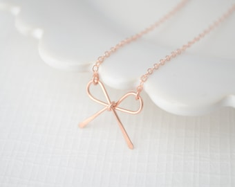 Rose Gold Bow Necklace - rose gold filled necklace - pink gold bow - 1140