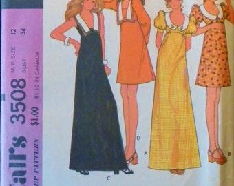 Vintage 1970s Empire Waist Mini Or Maxi Dress-Bust 34-McCalls 3508 Factory Folded