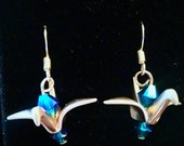 Rhodium (Silver) Plated Origami Paper Crane Earrings with Swarovski Crystals