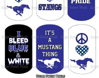 INSTANT DOWNLOAD Mustangs School Mascot Blue Digital Dog Tag Images 4x6 sheet