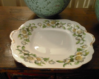 Vintage Aynsley Bone China Dogwood Cake Service Tray 1950s England