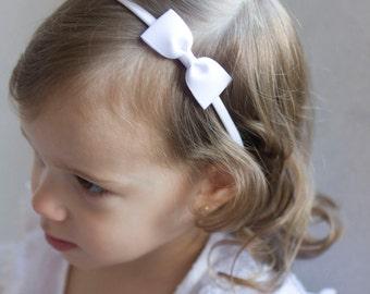 Baby Bow Headbands - Flower Girl Headband - White Small Grosgrain Ribbon Bow Handmade Headbands