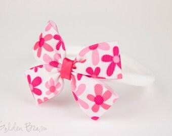 Flower Print Baby Headband - Pink and White Bow Handmade Baby Headband