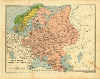 Antique Map of Russia, Sweden, Norway and Denmark 1899