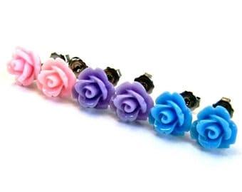 Pastel Earring Set  Lavender Purple, Sky Blue, Honeysuckle Pink Roses Titanium Post Stud Earrings  Hypoallergenic Jewelry Shabby Chic