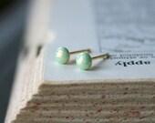 Tiny Opal Studs - 1.5mm-4.5mm, Seven Sizes: Honeydew Agar.io Inspired Earrings