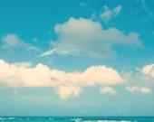 Beach, Ocean Print - Beach Photography - Ocean Photography - Turquoise Photo - Beach Wall Art - Square Art Print - Canvas - Blue Sky, Clouds