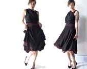 Vintage Dress . Early 90s Neon Pink and Black Dress. Full Circle Skirt. Grecian Draping Top. Size Small/ Medium
