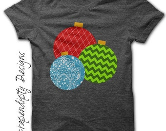 Ornament Iron on Shirt PDF - Christmas Iron on Transfer / Christmas Shirt / Infant Boys Girls Clothes / Toddler Kids Clothes Tops IT121-P