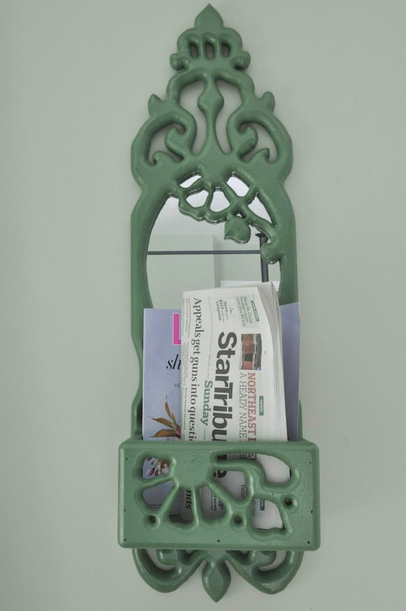 Vintage Kelly Green Carved Wood Entryway Mirror and Shelf