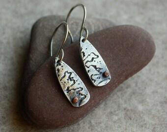 Silver River Earrings- Silver Earrings, Artisan Earrings, Mixed Metal Earrings, Copper Earrings
