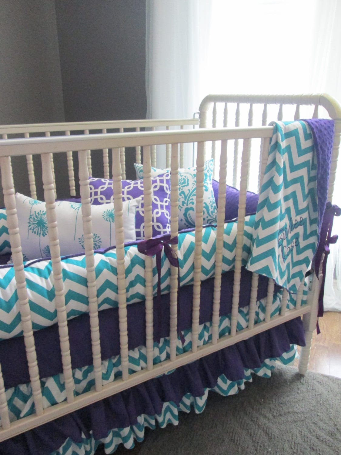 Brimlee Candy Purple And True Turquoise Custom Baby Bedding
